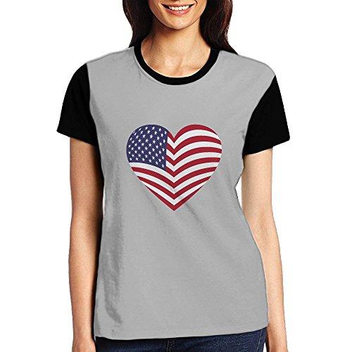 Michgton Love American Flag Women Summer Fashion Shirt Short Sleeve - The Military American Folding Style Flag