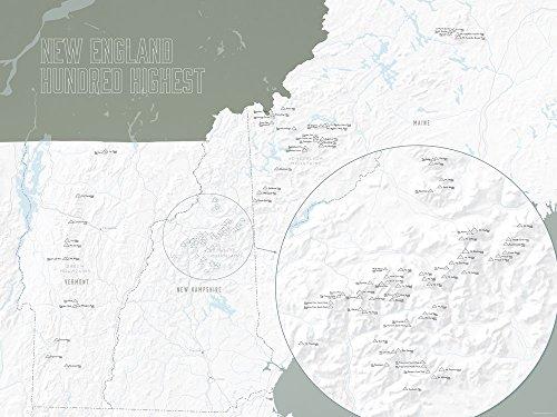 New England Hundred Highest Map Poster White & Pewter