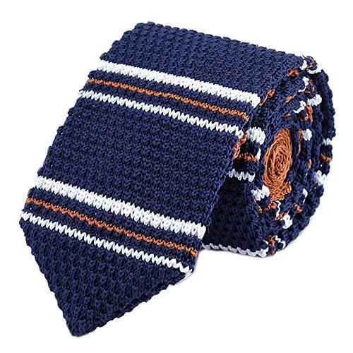 Blue Ties Silk Narrow (Men's Boy Deep Navy Blue White Brwon Jacquard Silk Ties Knitted Designed Necktie)