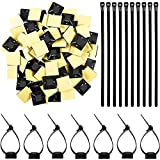 TecUnite 100 Pieces Reusable Cable Zip Ties Nylon Cable Ties with 100 Pieces Self Adhesive Cable Tie Mount Base Holders, Black (8 inch)