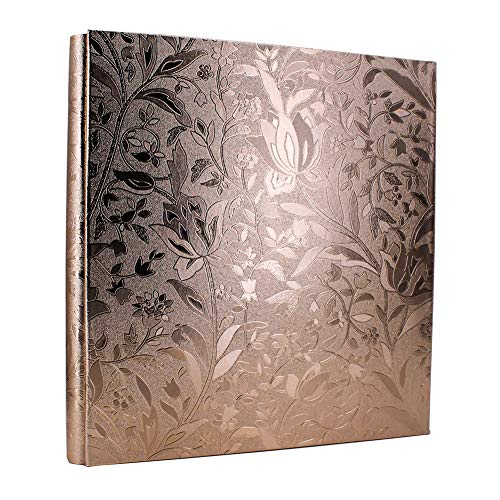 WonderFour Photo Picture Album 4x6 600 Photos, Large Capacity Leather Cover, Family Wedding Anniversaries Baby Vacation Album, Holds 600 Horizontal or Vertical 4x6 Photo (Champagne Gold-Small Leaf)