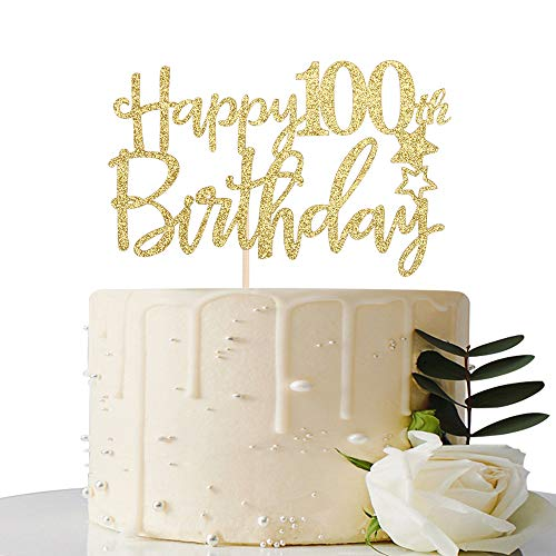 Gold Glitter Happy 100th Birthday Cake Topper,Hello 100, Cheers to 100 Years,100 & Fabulous Party Decoration]()