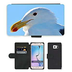 Hot Style Cell Phone Card Slot PU Leather Wallet Case // M00111705 Seagull Animal Portrait Close Bill // Samsung Galaxy S6 (Not Fits S6 EDGE)
