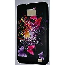 coque motif fleurs papillon Coque EN SILICONE Samsung Galaxy s2 i9100 HOUSSE ETUI CASE COVER