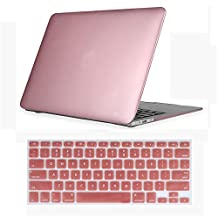 CaseHouse-Q Plastic Hard Shell Case for MacBook Air 13 Inch (A1369 and A1466) with Keyboard Cover (Rose Gold)
