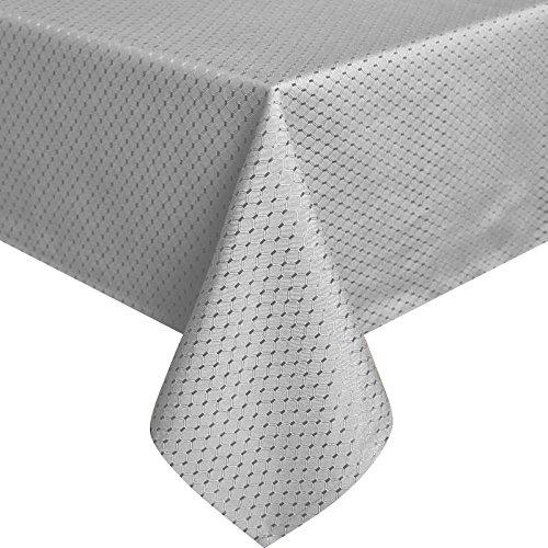 """Elegant Tablecloths for Rectangle Tables, 60"""" by 102"""" Grey Waffle Table Cloth for Home/Weddings"""
