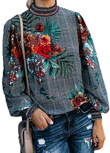 Floral Puff Sleeve Top - womens blouses and tops dressy,Women's Swing Tunic Top Puff Sleeve Floral Flare T-Shirt Plaid,Black,M