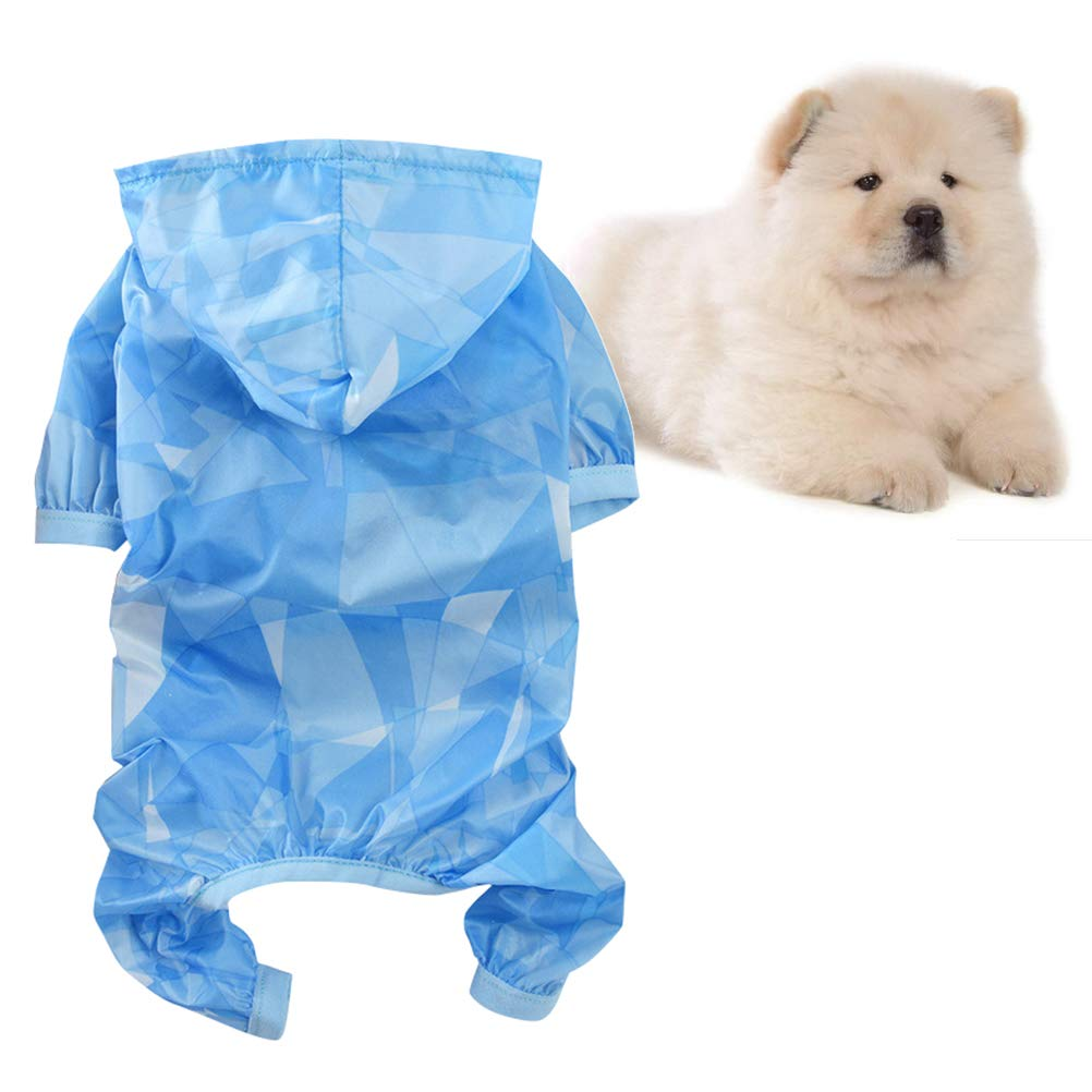 Sky Blue, XL POPETPOP Summer Pet Clothes Jumpsuit Thin Sun Protection Clothing for Dog Puppy Pet Costume Hooded Sunscreen Apparel