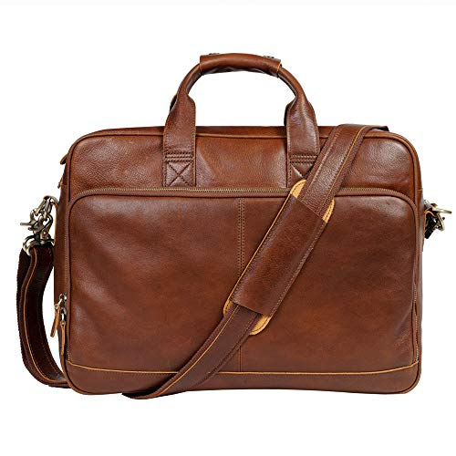 "Genuine Leather Briefcase Messenger Bag Sturdy Durable Fits 17.3""Laptop No Fading (Red Brown)"