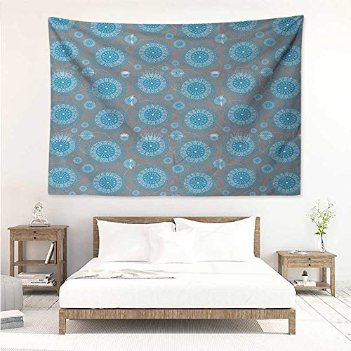 alisos Lace,Picnic Blanket Wall Shabby Chic Traditional Circular Swirled Floral Ethnic Moroccan Pattern 91W x 60L Inch Printed Nature Wall Tapestry Azure and Baby Blue Grey
