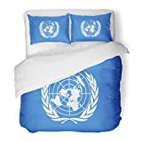 SanChic Duvet Cover Set Blue Organisation Drawing of the Flag United Nations Colorful Symbol Organization Decorative Bedding Set with 2 Pillow Shams Full/Queen Size