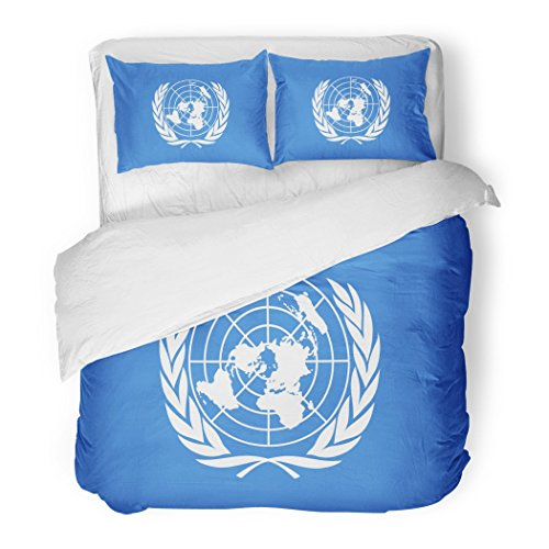 SanChic Duvet Cover Set Blue Organisation Drawing of the Flag United Nations Colorful Symbol Organization Decorative Bedding Set with 2 Pillow Shams Full/Queen Size by SanChic
