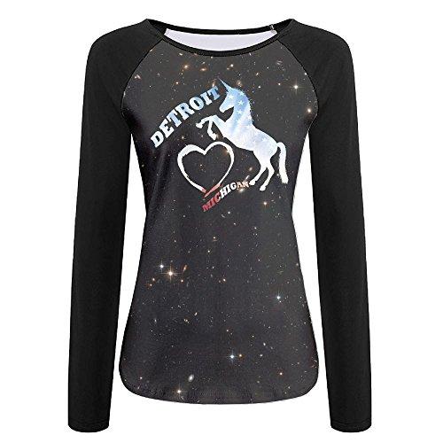 American Flag I Love Detroit Michigan Unicorn Womens Print Crew Neck Long Sleeve Raglan T-Shirt Baseball Tshirt by HGYK Shirt (Image #1)