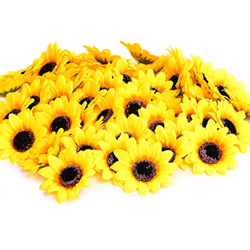 (KINWELL 50pcs Artificial Silk Yellow Sunflower Heads 2.8
