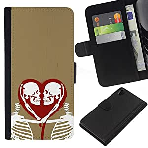 ZCell / Sony Xperia Z2 D6502 / Heart Love Skeleton Gold Red White / Caso Shell Armor Funda Case Cover Wallet / Corazón el amor Esqueleto D