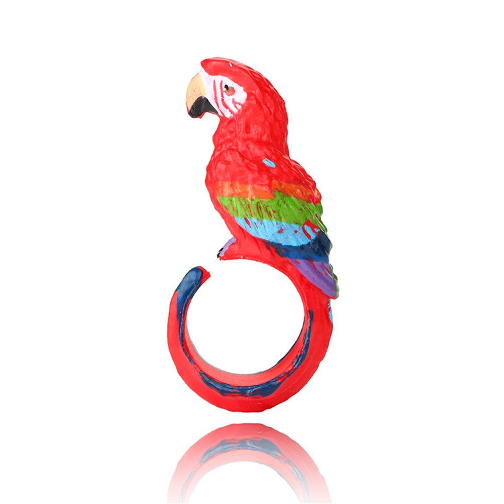 Red Parrot Open Finger Ring Animal Jewelry Silicone Party Wear Birthday Toy Gift For Kid Children