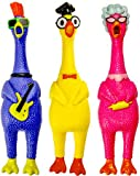 JA-RU Squeeze Me Rubber Chicken Toy (3 Units Assorted) Large Squeeze Chicken Prank Novelty Screaming Rubber Chickens for…