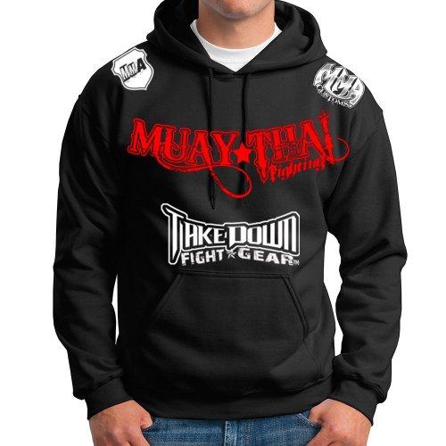 Muay Thai Fighting Jiu Jitsu Stryker Fight Gear Hoodie Jacket Jumper MMA UFC W (Large, Black)