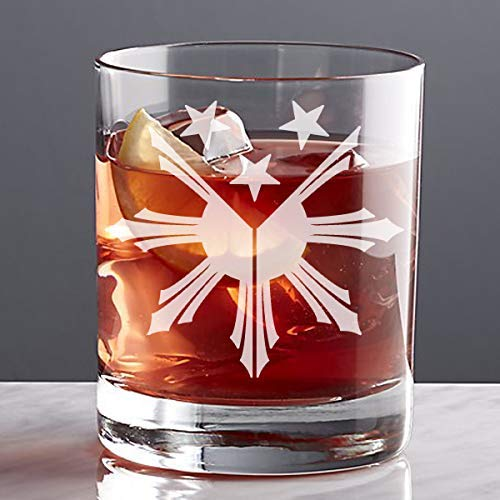 Philippines Sun Stars Custom Etched Whiskey Rocks Glass (PH-01)]()