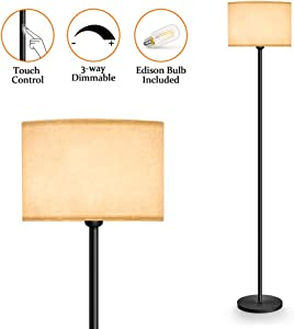 Lifeholder Floor Lamp, 3-Way Dimmable Touch Floor Lamp Include A Warm White Edison Bulb, Mid Century Standing Lamp with Line Fabric Shade, LED Floor Lamp Idea for Bedroom, Living Room or Office