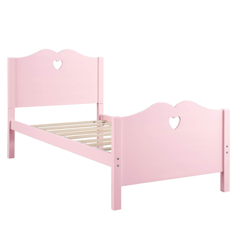 Wanzheronya Bettrahmen Bettrahmen Twin Platform Bett mit Holzlattenrost und Kopf- und Fußteil Möbel Bett (Farbe : Pink)