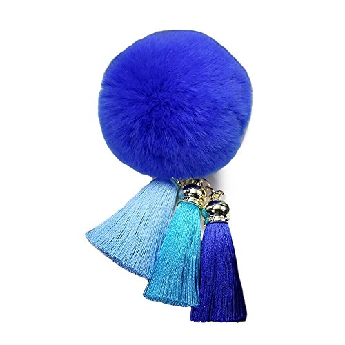 Soft Rabbit Fur Pom Pom Keychain with Rainbow Tassel Keychains for Women Quality Pop Keychain Car Ring Handbag Decoration