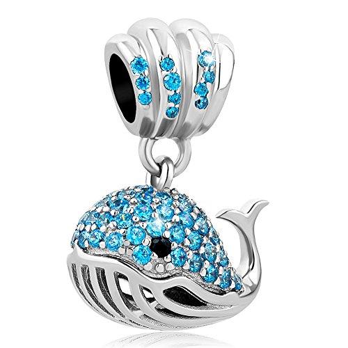 CharmSStory Sterling Silver Shiny Whale Dangle Charm Beads for European Bracelets