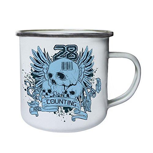 28 et compter Skull Rétro, étain, émail tasse 10oz/280ml x477e