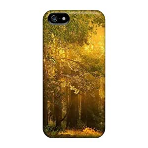 High Quality Shock Absorbing Case For Iphone 5/5s-light Through The Forest Hdr