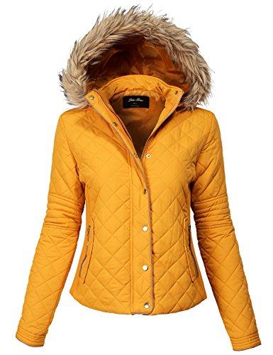Comfortable Fur Trim Hood Quilted Padding Jackets 140-mustard Small - Fleece Mesh Parka