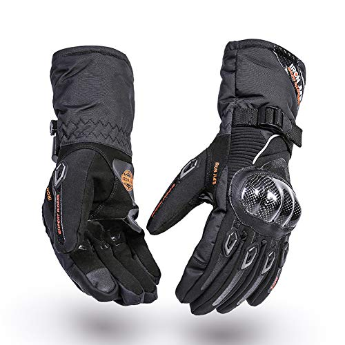 Motorcycle Winter Waterproof gloves Carbon Fiber Shell Racing Cycling Protection Accessories Support Touch Screen Black XL