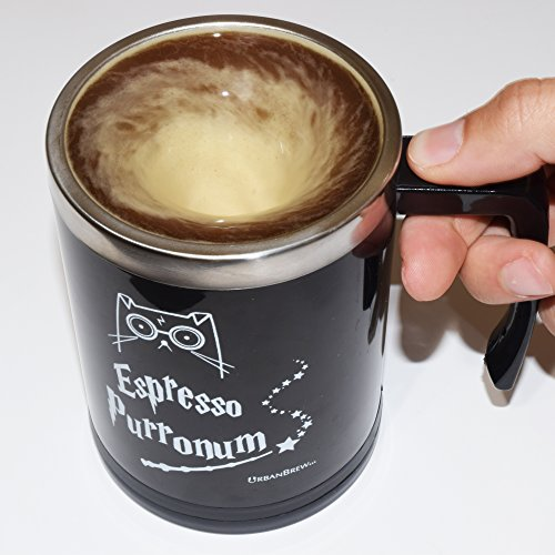 [HP Self Stirring Mug - Urbe The Wizard Cat Espresso Purronum - Perfect Gift For Family, Friends, HP Fans - UrbanBrew] (4 Star Dragonball Costume Color)