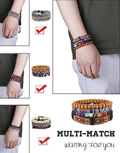 Thunaraz 15Pcs Braided Leather Bracelets for Men Women Natural Stone Wooden Beaded Bracelet Bangle Wrap Adjustable by Thunaraz (Image #4)