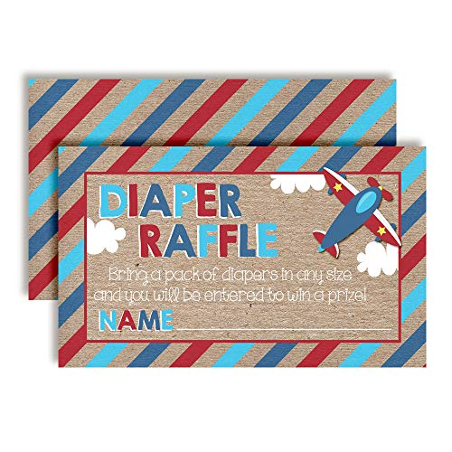 Flying by Airplane Themed Diaper Raffle Tickets for Boy Baby Showers, 20 2