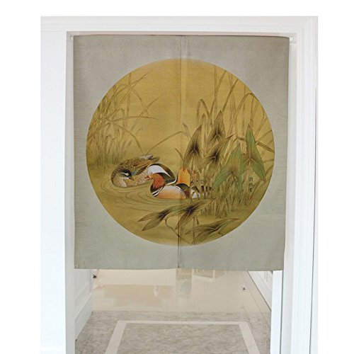 Cotton Linen Noren Japanese Curtain for Doorway/Door/Kitchen Door - Mandarin Ducks in the Water (31.5