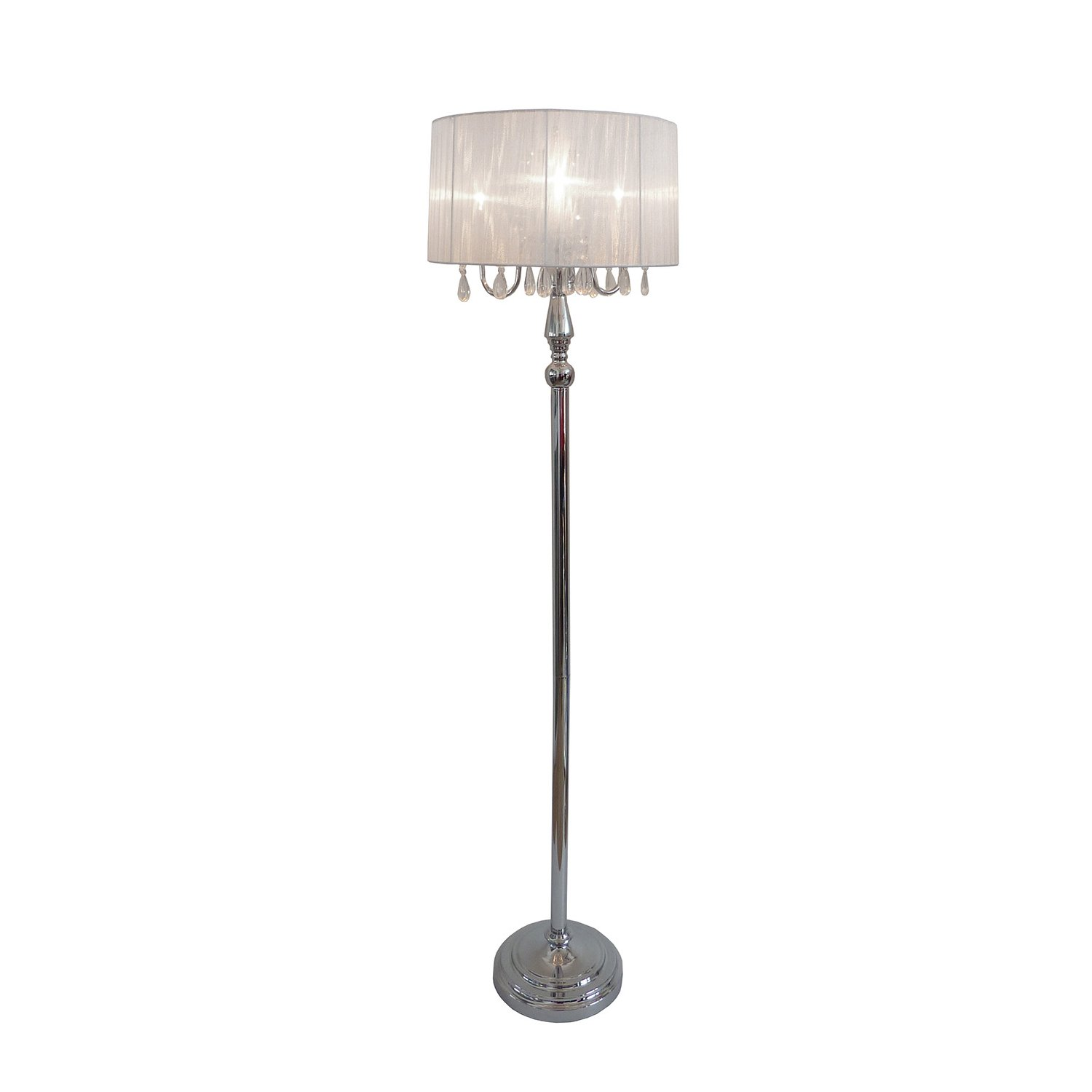 Elegant Designs LF1002-WHT Sheer Shade Chrome Floor Lamp
