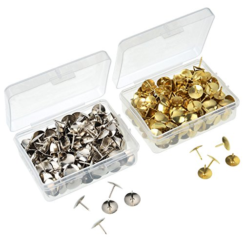 Shappy 400 Pieces Thumb Tacks Drawing Pins Pushpins Thumbtacks for Office or DIY, 10 mm Head, Silver and Brass Tone Photo #5