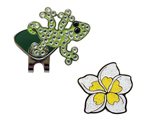 - Navika Gecko Crystal and White Plumeria Glitzy Ball Marker Combo with ONE Magnetic Hat Clip