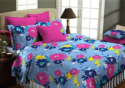 Maissen Valerian Polycotton Floral Double Bedsheet with 2 Pillow Covers – Blue