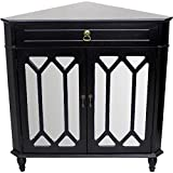 Heather Ann Creations The Dorset Collection Contemporary Style Wooden Double Door Floor Storage Living Room Corner Cabinet with Hexagonal Mirror Inserts and 1-Drawer, Black