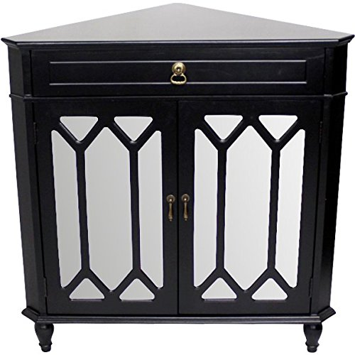 Heather Ann Creations The Dorset Collection Contemporary Style Wooden Double Door Floor Storage Living Room Corner Cabinet with Hexagonal Mirror Inserts and 1-Drawer, Black by Heather Ann Creations
