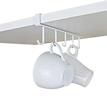 Attirant GeLive Under Cabinet Coffee Mug Hook Holder Kitchen Storage Hanger Drying  Rack Utensil Organizer White