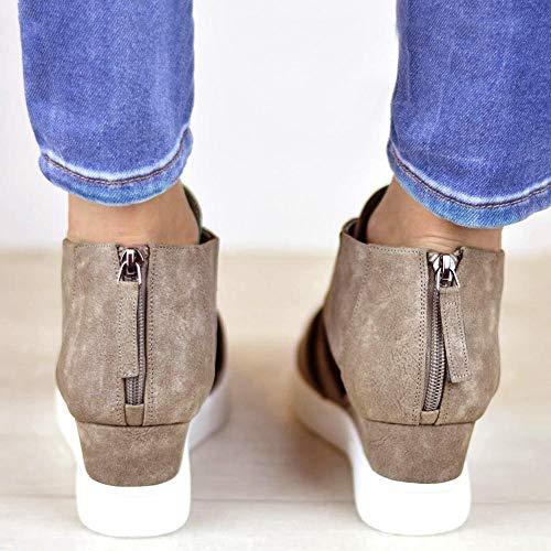 Zapatos a Zapatos Tacon Mujer Comodos Zapatos Casuales Aumentados Mujer Caqui con Juego Scrub Logobeing Cremallera de Planas Simples IPqa6