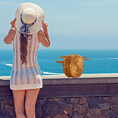 Mano Mujer De Hecho Bolsa Playa Trenzado Bambú L A Bolso Ratán fRSTRt