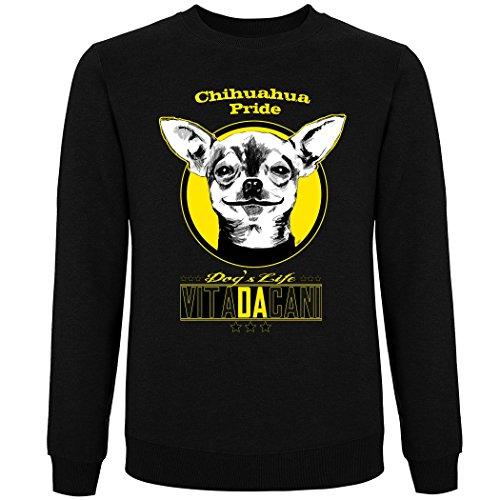 Pushertees - pull ras du cou Unisex noir VDC-1 chiens amoureux des animaux aiment la nature bulldog-chihuahua-dog