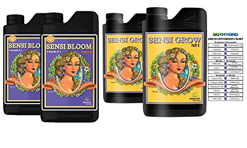 Advanced Nutrients Sensi Bloom and Sensi Grow A and B with GotHydro Conversion Chart (500 ml) by Advanced Nutrients