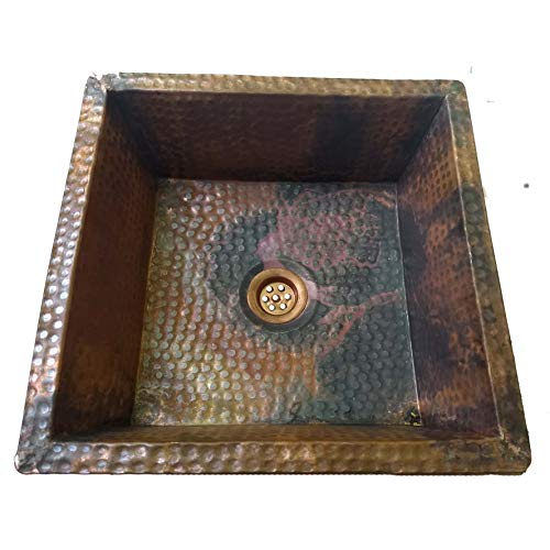 Vintage Undermount Bathroom Sink - Fire Treated Vintage Look Rustic Copper Kitchen Bathroom Undermount Square Sink