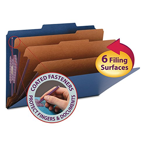 Smead Colored Pressboard Eight-Section Top Tab Classification Folders with SafeSHIELD Coated Fastener