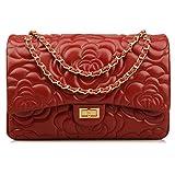 Ainifeel Women's Quilted Oversize Genuine Leather Shoulder Handbag Hobo Bag Purse (X-Large, Flower (claret gold hardware))