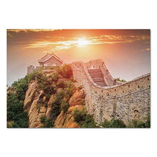 - Large Wall Mural Sticker [ Great Wall of China,Sunrise Horizon on Traditional Stone Building Empire Culture Design,Grey Orange ] Self-Adhesive Vinyl Wallpaper/Removable Modern Decorating Wall Art